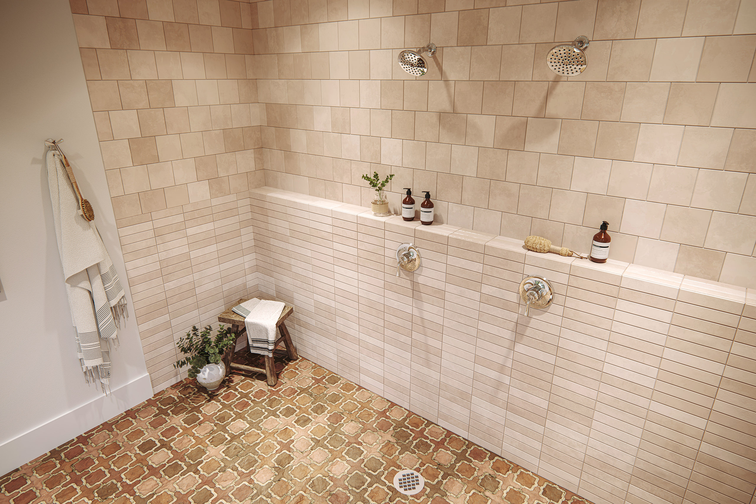 Interior visualization of a double shower with terra-cotta wall and floor tiles and organic bath accessories