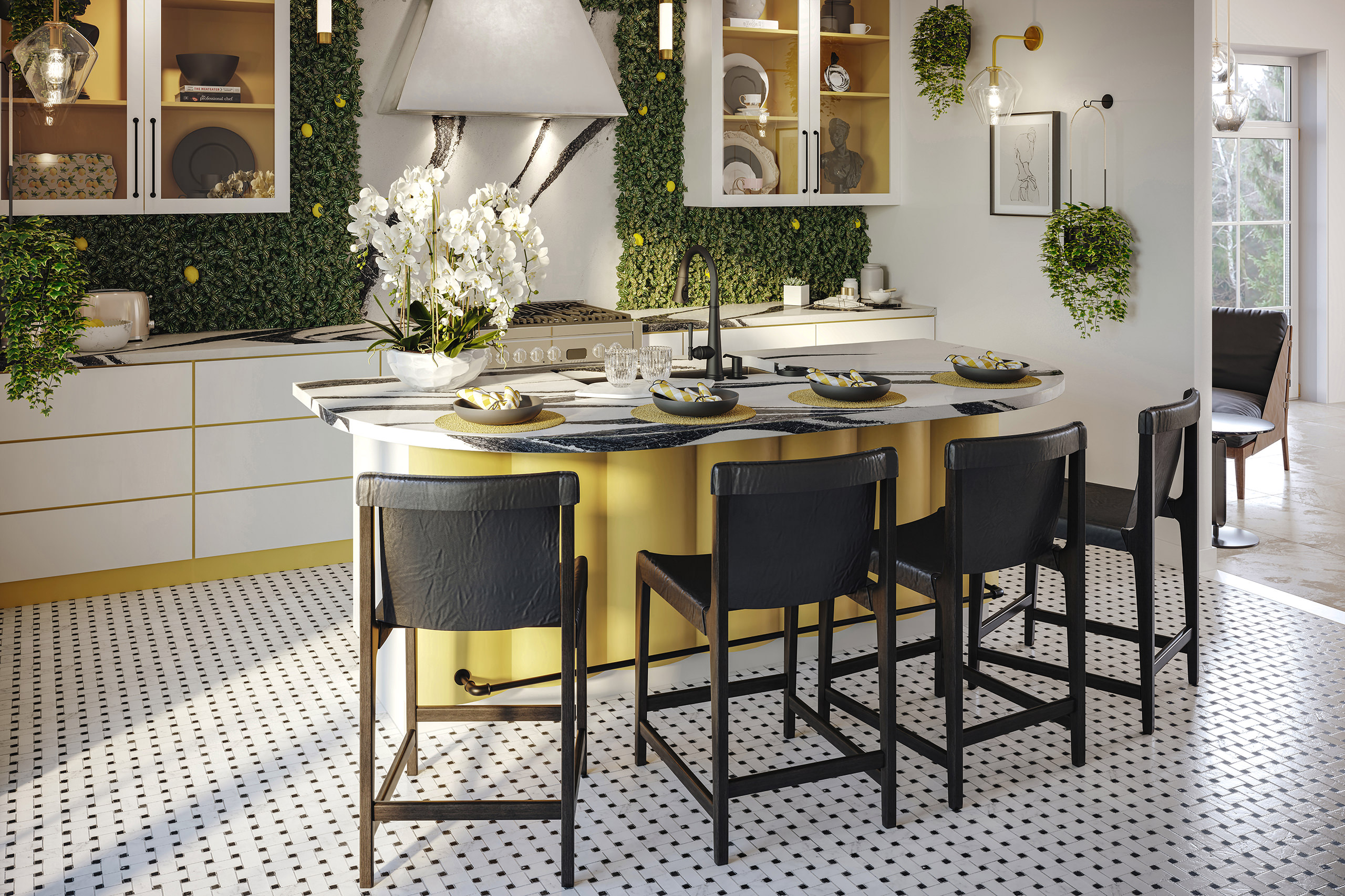Interior visualization of a European-inspired kitchen consisting of a curved island with barstools and Delta faucets arrangement, stove with a hood, glass cabinets with black&white decor and a feature green wall with lemons