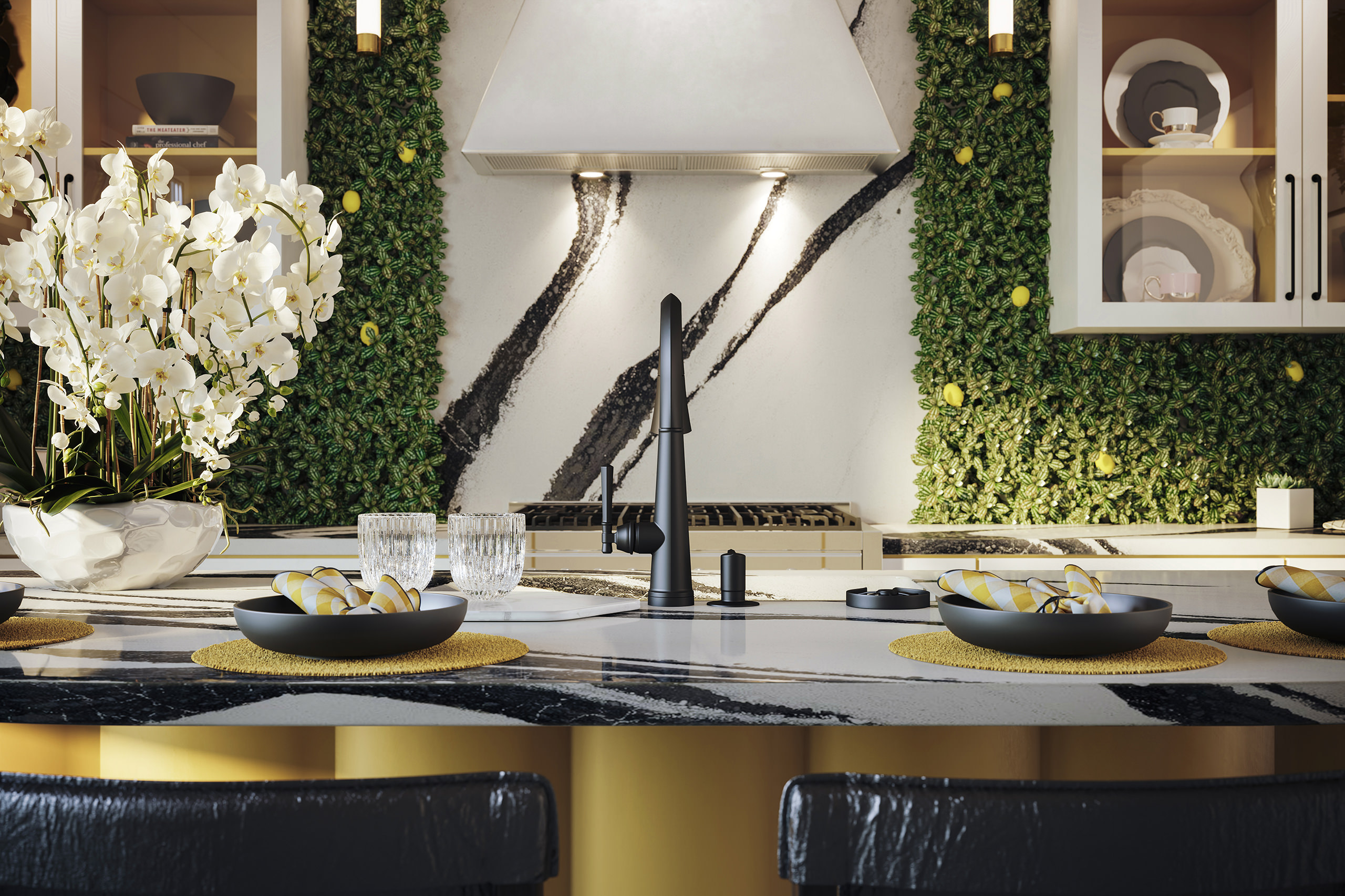 Close-up rendering of a black satin Delta Emmeline faucet on top of a marble kitchen island with a dining set-up and a white flower arrangement