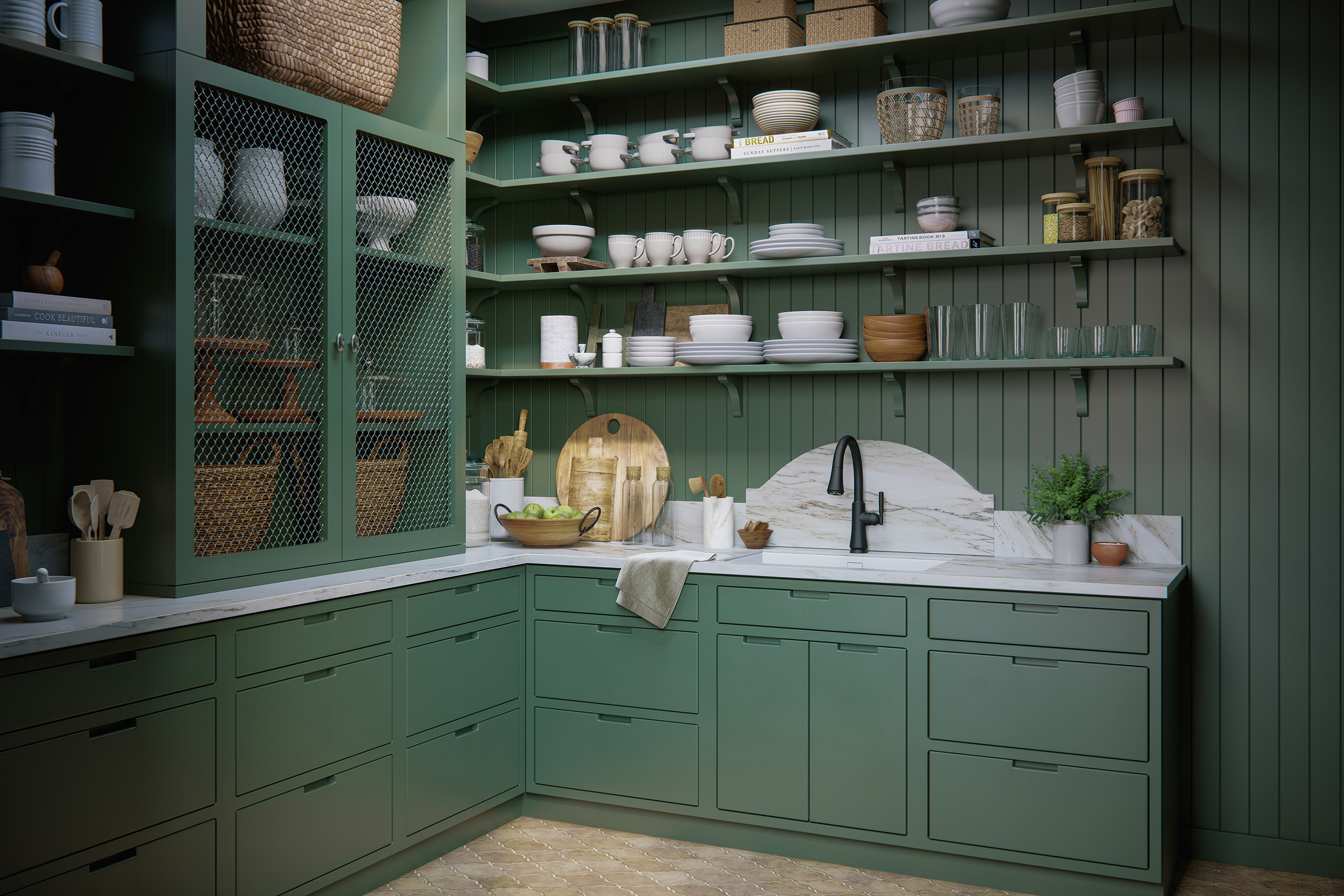 Rendering of shelves with black kitchen faucet, plates, cups, glasses and wicker baskets