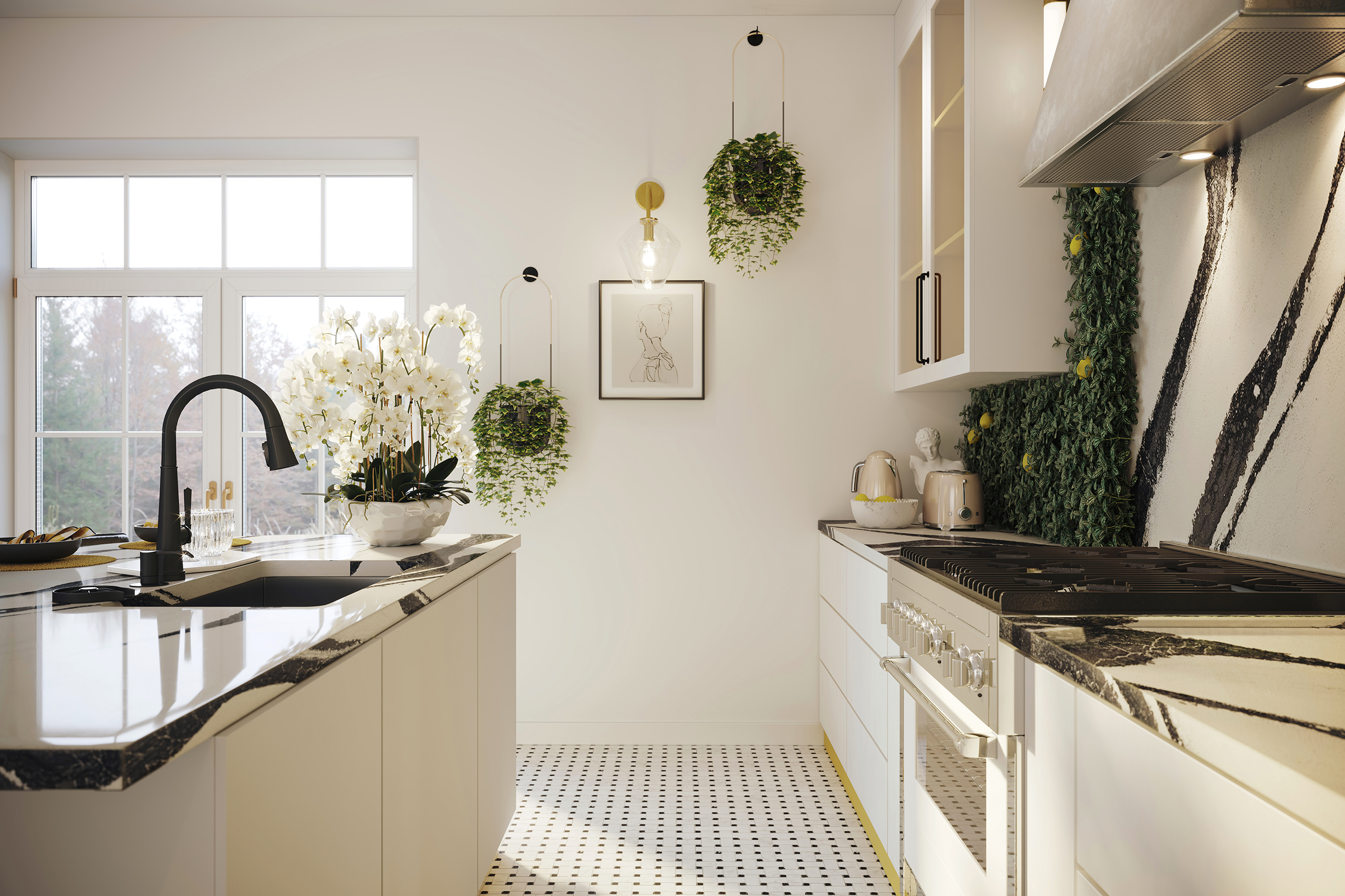 One-point perspective rendering of a light kitchen with eclectic accessories, green feature wall and organic accents