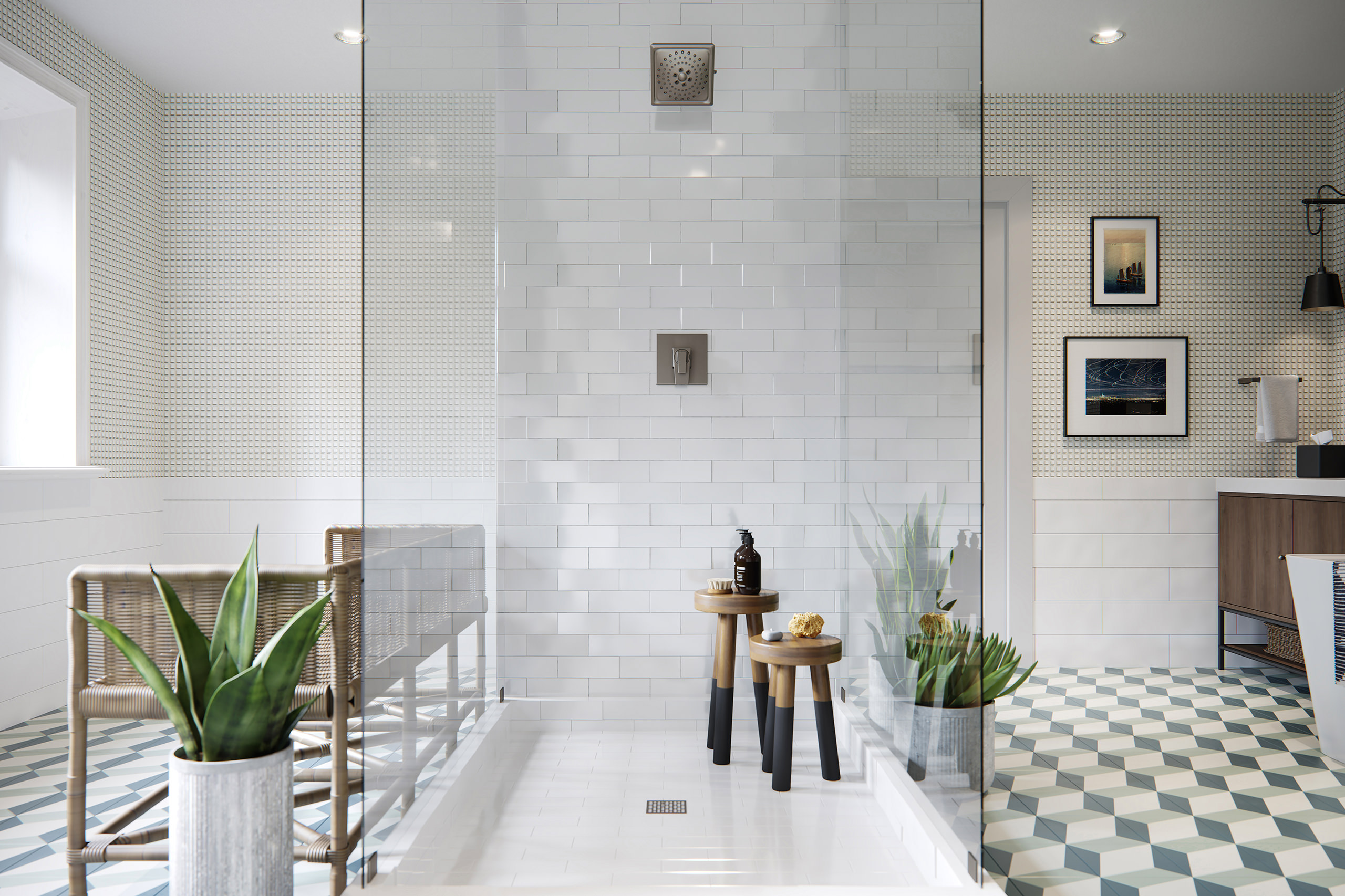 Front rendering of the shower interior with Trillian showerhead and controls and wooden furniture with plants