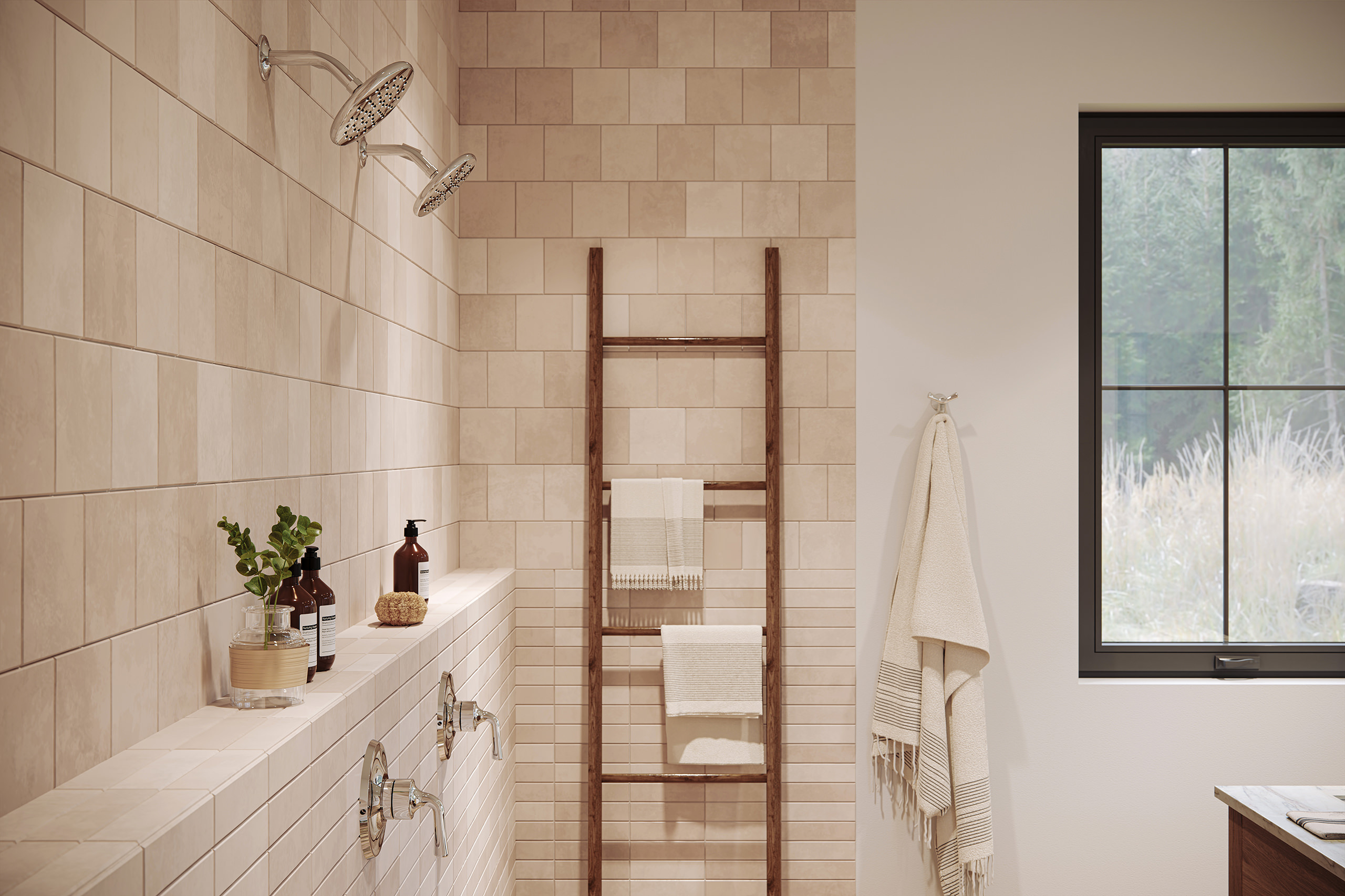 Shower interior visualization focusing on the details of Delta showerheads and controls and bathroom accessories