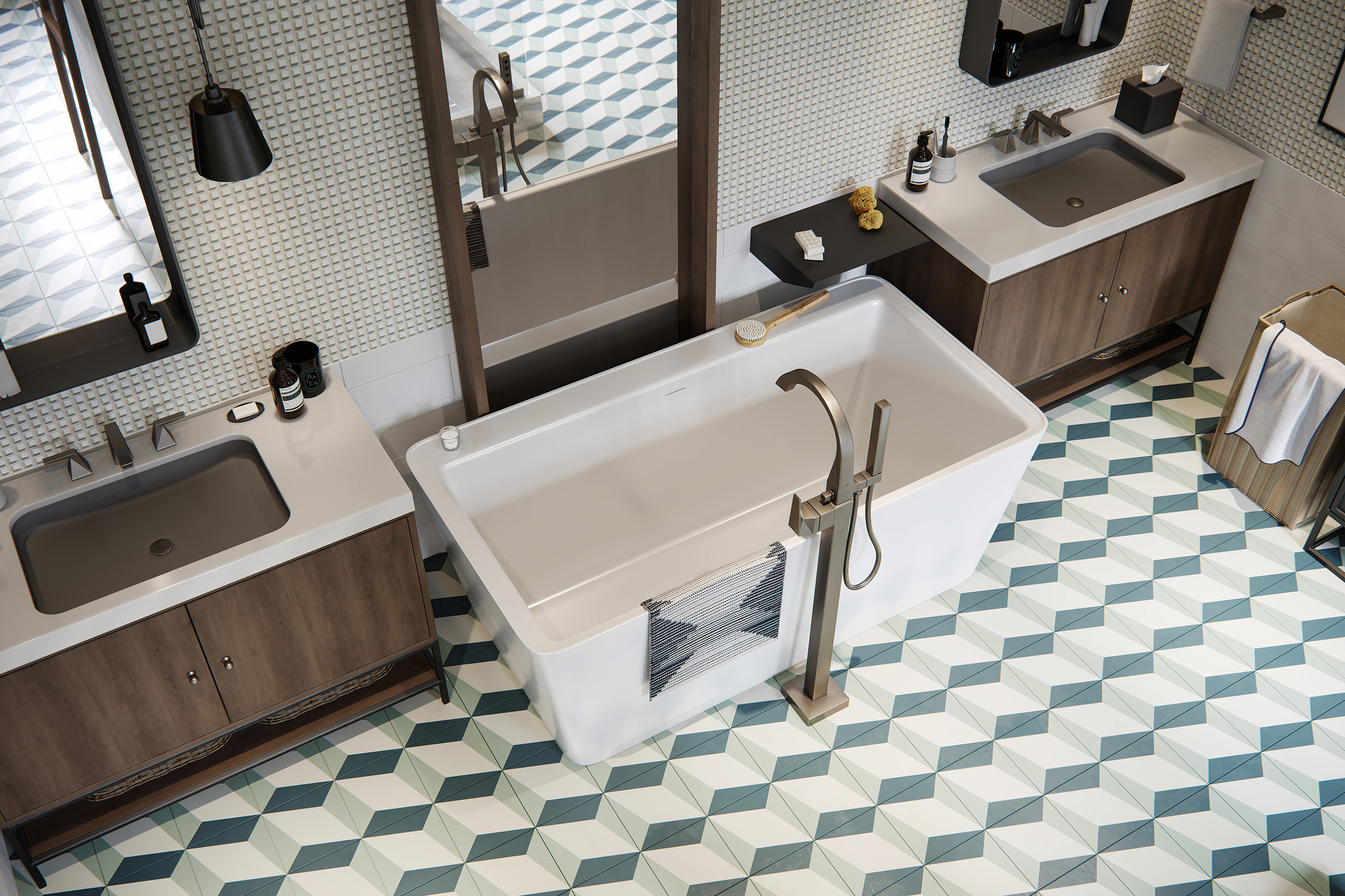 Top 3D view of Delta bath and sink faucets with a focus on geometric floor tiles