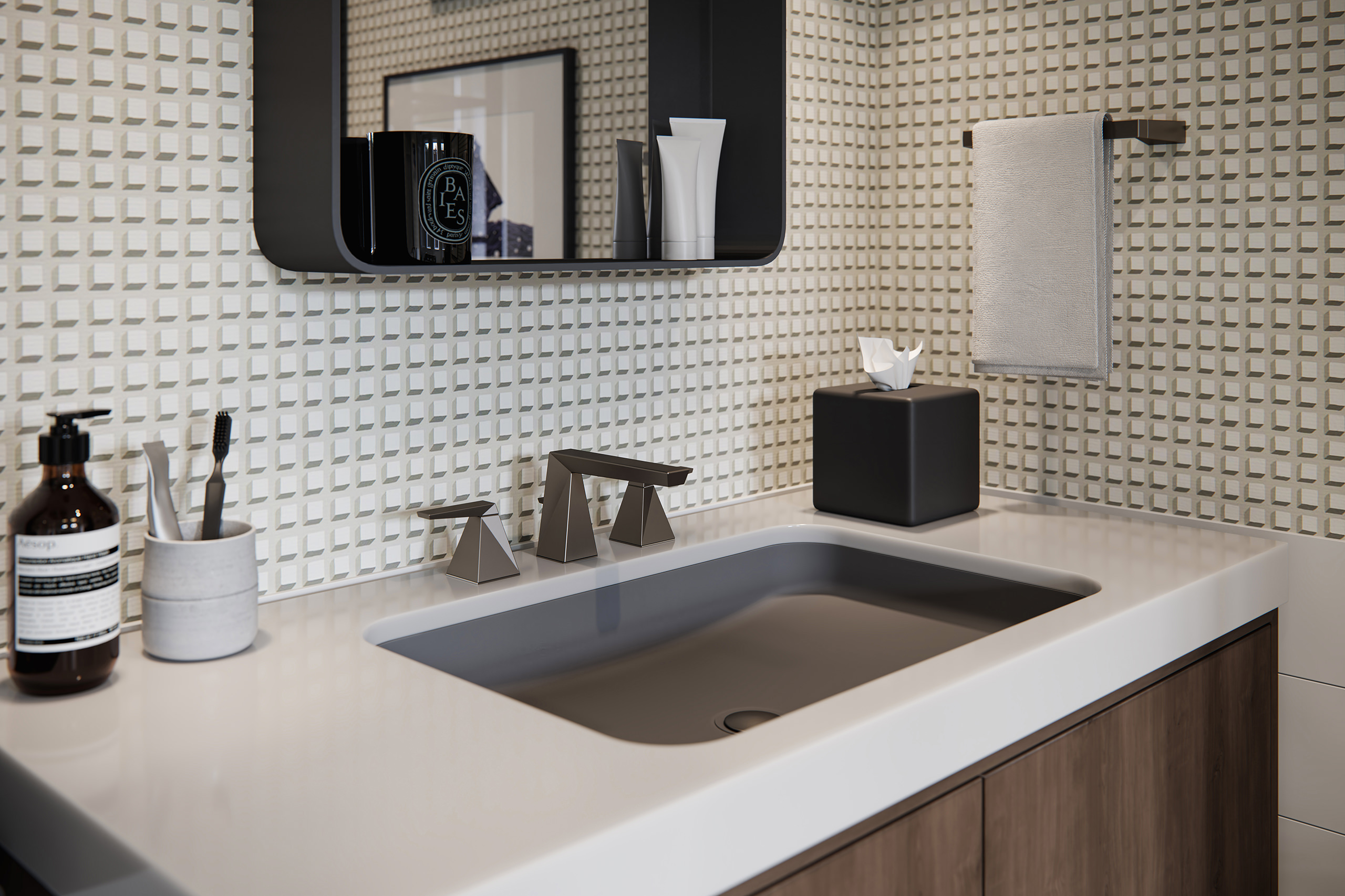 Crop 3D view of a wash stand with a faceted Delta Trillian faucet and bath accessories